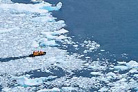 A zodiac manuevers through the brash ice at Neko Harbor, Antarctica.