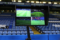 The VAR screen already in place alongside the Chelsea pitch should the referee need to view any incidents in the match during Chelsea vs Arsenal, Caraboa Cup Football at Stamford Bridge on 10th January 2018