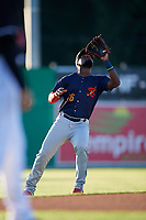 State College Spikes shortstop Luis Flores (16) catches a popup during a NY-Penn League game against the Batavia Muckdogs on July 1, 2019 at Dwyer Stadium in Batavia, New York.  Batavia defeated State College 5-4.  (Mike Janes/Four Seam Images)