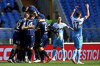 Emanuel Vignato of AC Chievo Verona celebrates after scoring goal of 0-1 as Ciro Immobile of Lazio looks dejected during the Serie A 2018/2019 football match between SS Lazio and AC Chievo Verona at stadio Olimpico, Roma, April, 20, 2019 <br /> Photo Antonietta Baldassarre / Insidefoto