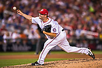 7 October 2017: Washington Nationals pitcher Matt Albers on the mound in the second game of the NLDS against the Chicago Cubs at Nationals Park in Washington, DC. The Nationals rallied to defeat the Cubs 6-3 and even their best of five Postseason series at one game apiece. Mandatory Credit: Ed Wolfstein Photo *** RAW (NEF) Image File Available ***