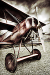 World War 1 German fighter plane close up with wooden propellor