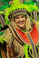 SÃO PAULO, SP, 09.03.2019 - CARNAVAL-SP - Integrante da escola de samba Mancha Verde durante Desfile das campeãs do Carnaval de São Paulo, no Sambódromo do Anhembi em Sao Paulo, na madrugada deste sábado, 09. (Foto: Anderson Lira/Brazil Photo Press/Folhapress)