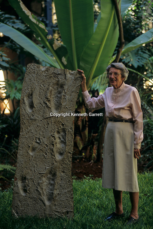 Mary Leakey  with a cast of the first footprints in wet volcanic ash, Tanzania, Africa, Laetoli plain, 3.6 million years ago.