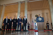 President Barack Obama (R) speaks alongside nordic leaders, from left to right, Iceland Prime Minister Sigurdur Ingi Johannsson, Denmark Prime Minister Lars Lokke Rasmussen, Norway Prime Minister Erna Solberg, Sweden Prime Minister Stefan Lofven and Finland President Sauli Niinisto to the White House during a welcomes ceremony in the Grand Foyer of the White House in Washington, D.C. May 13, 2016. <br /> Credit: Kevin Dietsch / Pool via CNP
