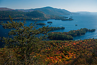 View of Lake George in autumn from the Tongue Mt Range in the Lake George Wild Forest Area in the Adirondack Mountains of New York State