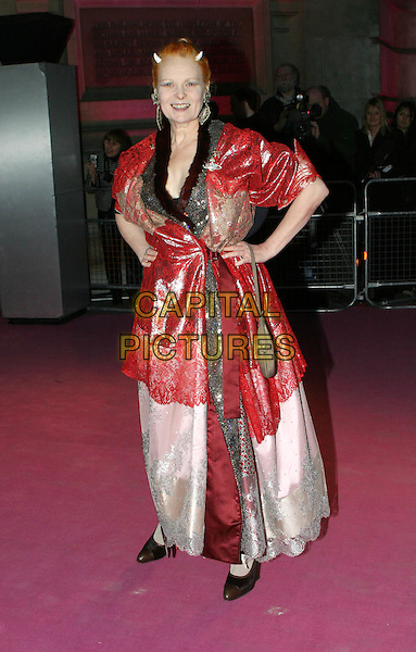 VIVIENNE WESTWOOD.Private view to open the V&A's major Westwood exhibition.30 March 2004.full length, full-length, long red lace dress.www.capitalpictures.com.sales@capitalpictures.com.© Capital Pictures.