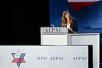 Washington, DC - March 2, 2015: Samantha Power, Permanent Representative to the United Nations, addresses attendees of the American Israeli Public Affairs Committee Policy Conference at the Washington Convention Center, March 2, 2015.   (Photo by Don Baxter/Media Images International)