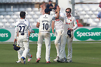 Simon Harmer of Essex is congratulated by his team mates after taking the wicket of Jeetan Patel, his sixth of the innings during Essex CCC vs Warwickshire CCC, Specsavers County Championship Division 1 Cricket at The Cloudfm County Ground on 21st June 2017