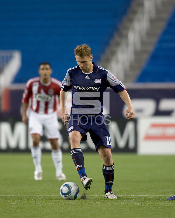 Second half substitute New England Revolution forward Edgaras Jankauskas (10) at midfield. Chivas USA defeated the New England Revolution, 4-0, at Gillette Stadium on May 5, 2010.