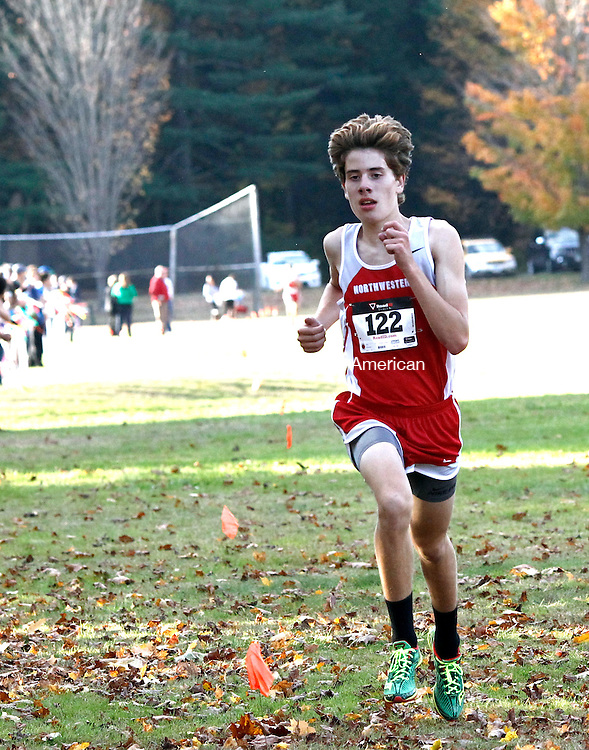 Thomaston, CT- 17 October 2014-101714CM09- Northwestern's Peter Bakker makes his way to the finish line during the boys Berkshire League cross country meet at Black Rock State Park in Thomaston on Friday. Bakker won the race.   Christopher Massa Republican-American