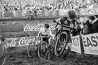 Corn&eacute; Van Kessel (NED/Telenet-Fidea) &amp; European CX Champion Toon Aerts (BEL/Telenet-Fidea) running up<br /> <br /> Elite Men's Race<br /> Soudal Jaarmarktcross Niel 2016