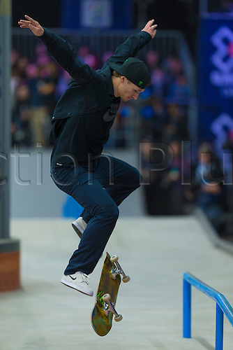 25.02.2016. Warehouse 13  Oslo, Norway.  X Games Oslo 2016. Mens Skateboard final. Shane O'neill of Australia competes in the men's skateboard street final  during the X Games Oslo 2016 at the warehouse 13  in Oslo, Norway.