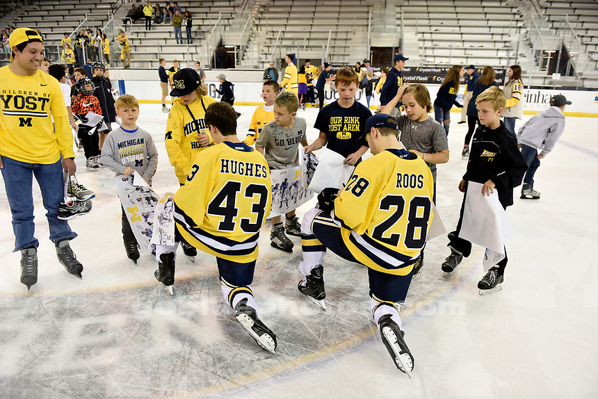 Michigan defeats Western Ontario 10-1 in exhibition ice hockey action at Yost Ice Arena, Saturday, September 30, 2017.