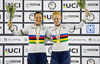 Picture by Simon Wilkinson/SWpix.com - 02/03/2017 - Cycling 2017 UCI Para-Cycling Track World Championships, Los Angeles USA - Podium<br /> Winners - GREAT BRITAIN<br /> THORNHILL Sophie HALL Corrine<br /> branding