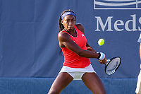 Washington, DC - August 3, 2019:  Coco Gauff (USA) looks to hit a backhand shot during the  Women Doubles finals at William H.G. FitzGerald Tennis Center in Washington, DC  August 3, 2019.  (Photo by Elliott Brown/Media Images International)