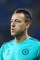 John Terry of Chelsea warms up ahead of the UEFA Champions League Group match between Chelsea and Dynamo Kyiv at Stamford Bridge, London, England on 4 November 2015. Photo by David Horn.