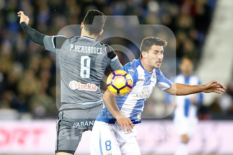CD Leganes' Gabriel Pires (r) and Celta de Vigo's Pedro Pablo Hernandez during La Liga match. January 28,2017. (ALTERPHOTOS/Acero)
