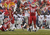 NWA Media/Michael Woods --11/22/2014-- w @NWAMICHAELW...University of Arkansas defensive end Trey Flowers celebrates after the Razorbacks recover a fumble in the 1st quarter of Arkansas 30-0 win over Ole Miss during Saturdays game at Razorback Stadium.