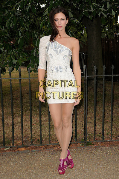 MARGOT STILLEY.The Summer Party at The Serpentine Gallery, London, England. .July 9th, 2009 .full length pink purple sandals shoes white silver pattern one shoulder sleeve dress .CAP/CAS.©Bob Cass/Capital Pictures.