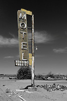 Neon sign for the abandoned Hennings Motel along Route 66 in Newberry Springs, California. Prior to the construction of Interstate 40 Route 66 was the primary road through the Mojave Desert.
