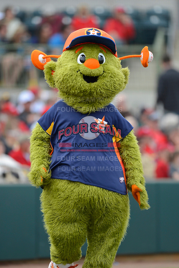 Houston Astros mascot Orbit during a Spring Training game against the St. Louis Cardinals at Osceola County Stadium on March 1, 2013 in Kissimmee, Florida.  The game ended in a tie at 8-8.  (Mike Janes/Four Seam Images)