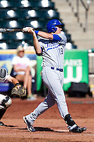 Rob Ort (19) of the Indiana State Sycamores follows through his swing during a game against the Evansville Purple Aces in the 2012 Missouri Valley Conference Championship Tournament at Hammons Field on May 23, 2012 in Springfield, Missouri. (David Welker/Four Seam Images)
