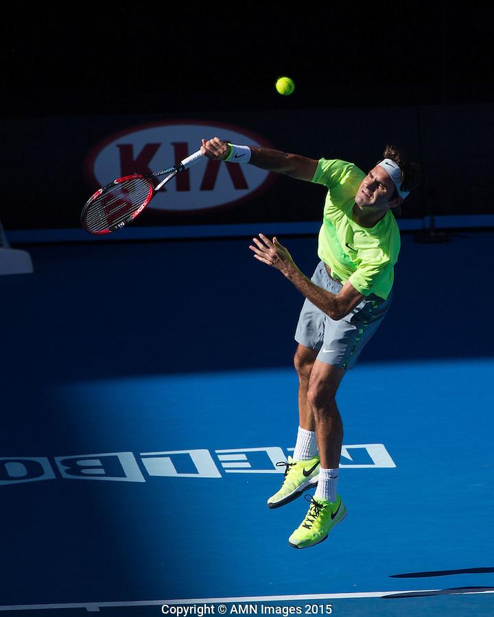 Roger Federer (SUI)<br /> <br /> Tennis - Australian Open 2015 - Grand Slam -  Melbourne Park - Melbourne - Victoria - Australia  - 23 January 2015. <br /> &copy; AMN IMAGES
