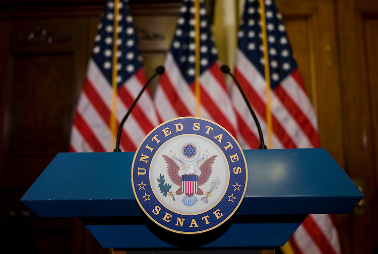 WASHINGTON, DC - July 23: The podium waits for a news conference to begin in the office of Senate Assistant Majority Leader Richard J. Durbin, D-Ill., on the Unsolved Crimes Act. The bill is part of a package of legislation that Sen. Tom Coburn, R-Okla., is blocking in an effort to demand Senate Majority Leader Harry Reid, D-Nev., to allow debate on the measures.  (Photo by Scott J. Ferrell/Congressional Quarterly)