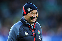England Rugby Head Coach Eddie Jones looks on during the pre-match warm-up. RBS Six Nations match between England and France on February 4, 2017 at Twickenham Stadium in London, England. Photo by: Patrick Khachfe / Onside Images