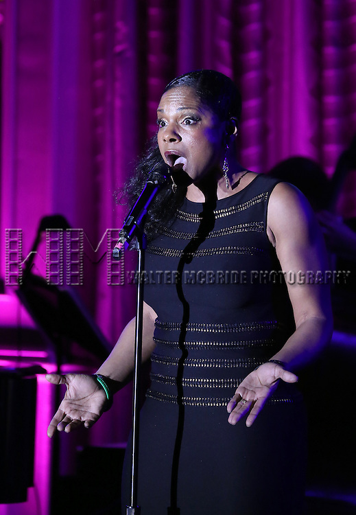 Audra McDonald performs during the Drama League's 30th Annual 'Musical Celebration of Broadway' honoring Neil Patrick Harris at the Pierre Hotel on February 3, 2014 in New York City.