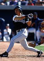 Vinny Castilla of the Colorado Rockies at Peoria Sports Complex in Peoria, Arizona during 1996 Spring Training. (Larry Goren/Four Seam Images)