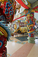 Inside the Qing Shou Si Chinese Temple in Kanchanaburi, Thailand.