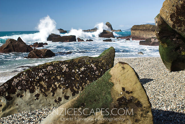 Rock formations on Monro Beach - South Westland
