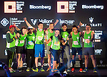 Winners receive their awards on stage during the Bloomberg Square Mile Relay race across the Dubai International Financial Centre on 8 February 2017 in Dubai, United Arab Emirates. Photo by Adrian Chitic / Power Sport Images