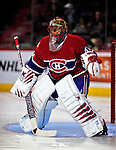 24 September 2009: Montreal Canadiens' goaltender Jaroslav Halak warms up prior to facing the Boston Bruins at the Bell Centre in Montreal, Quebec, Canada. The Bruins defeated the Canadiens 2-1 in an overtime shootout. Mandatory Photo Credit: Ed Wolfstein Photo