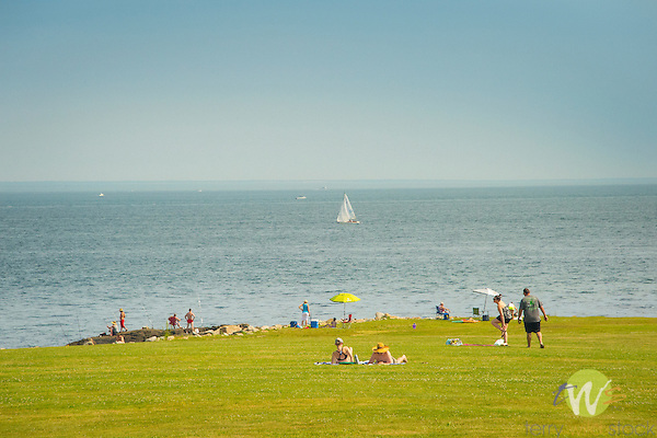 Harkness Memorial State Park. People along shoreline and Long Island Sound.