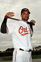 Feb 27, 2010; Tampa, FL, USA; Baltimore Orioles  outfielder Nick Markakis (21) during  photoday at Ed Smith Stadium. Mandatory Credit: Tomasso De Rosa/ Four Seam Images