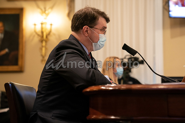 United States Secretary of Veterans Affairs (VA) Robert Wilkie, speaks at a hearing with the House Appropriations Subcommittee on Military Construction, Veterans Affairs, and Related Agencies on Capitol Hill in Washington DC, on May 28th, 2020.<br /> Credit: Anna Moneymaker / Pool via CNP/AdMedia