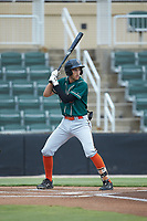 Connor Kaiser (18) of the Greensboro Grasshoppers at bat against the Kannapolis Intimidators at Kannapolis Intimidators Stadium on July 9, 2019 in Kannapolis, North Carolina. The Grasshoppers defeated the Intimidators 5-4. (Brian Westerholt/Four Seam Images)