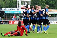 ASSEN - Voetbal, ACV - Magreb 90, derde divisie zaterdag, seizoen 2017-2018, 25-08-2017 ACV viert de 3-0 van ACV speler Pacal Huser