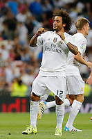Real Madrid's Brazilian defense Marcelo celebrating after scoring