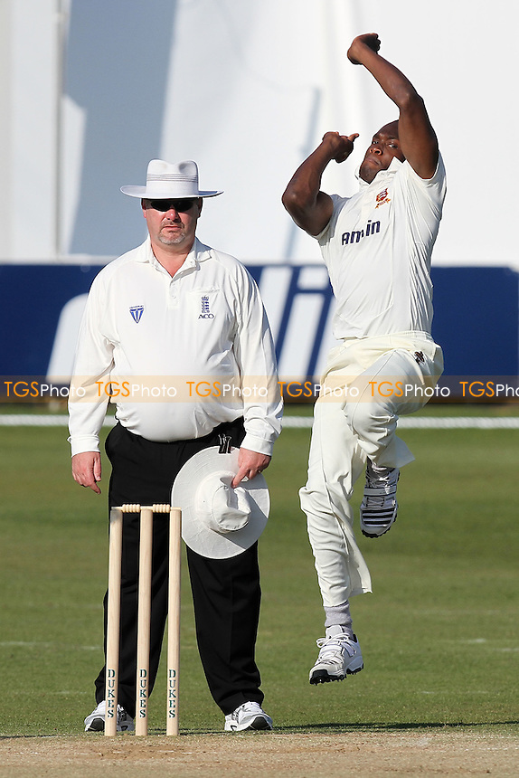 Maurice Chambers in bowling action for Essex - Essex CCC vs Worcestershire CCC - Friendly Cricket Match at the Ford County Ground, Chelmsford, Essex - 28/03/12 - MANDATORY CREDIT: Gavin Ellis/TGSPHOTO - Self billing applies where appropriate - 0845 094 6026 - contact@tgsphoto.co.uk - NO UNPAID USE.