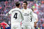 Sergio Ramos and Carlos Henrique Casemiro of Real Madrid celebrating a goal during La Liga match between Atletico de Madrid and Real Madrid at Wanda Metropolitano in Madrid Spain. February 09, 2018. (ALTERPHOTOS/Borja B.Hojas)