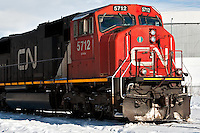 A CN (Canadian National Railway) EMD SD75I, diesel-electric locomotive is pictured in Levis January 4, 2010. The Canadian National Railway (reporting mark CN) is a Canadian Class I railway operated by the Canadian National Railway Company.