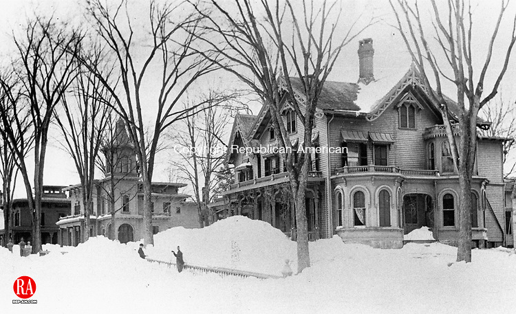 Shoveling out in Waterbury after the blizzard of March 12-14th 1888.