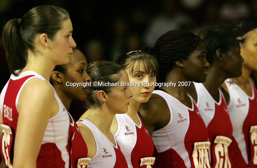 16.11.2007 England line up for the Australia v England match at the New World Netball World Champs held at Trusts Stadium Auckland New Zealand. Mandatory Photo Credit ©Michael Bradley.