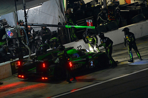 28-31 January, 2016, Daytona Beach, Florida USA<br /> 2, Honda HPD, Ligier JS P2, P, Scott Sharp, Ed Brown, Joannes van Overbeek, Luis Felipe Derani makes a pit stop.<br /> ©2016, F. Peirce Williams<br /> LAT Photo USA