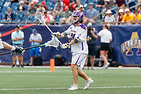 Kyle McClancy (#40) makes a pass as Yale defeats UAlbany 20-11 in the NCAAA semifinal game at Gillette Stadium, May 26.
