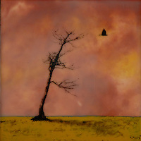 Bare tree and crow photography against rust orange sky encaustic painting SOLD